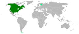 Az elterjedési területe; a sötét zöld az eredeti előfordulási helye, a világos zöld ahová betelepítették.