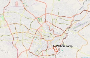 Amman, Jordan with location of Al-Wehdat camp.png