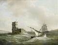 An English frigate in choppy waters in the Tagus passing the Belem Tower - John Thomas Serres.png
