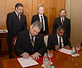 Anand Sharma and the Slovenian Deputy Prime Minister and Minister of Economic Development and Technology, Mr. Radovan Zerjav witnessing the signing of a Memorandum of Understanding, in Agra on January 28, 2013.jpg