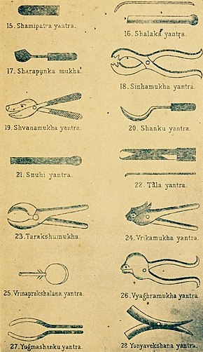 Ancient Hindu text Sushruta samhita yantra, surgical instruments 4 of 4.jpg