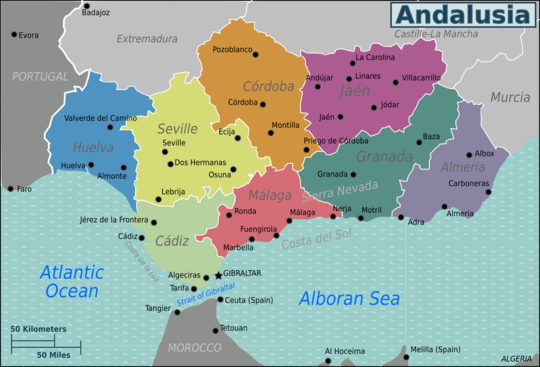 Andalucia On Map Of Spain.Andalusia Travel Guide At Wikivoyage