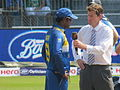 Angelo Mathews as captain at the toss with Nick Knight.JPG