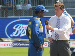 Angelo Mathews - Angelo Mathews as captain at the toss with Nick Knight