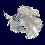 A satellite composite image of Antarctica