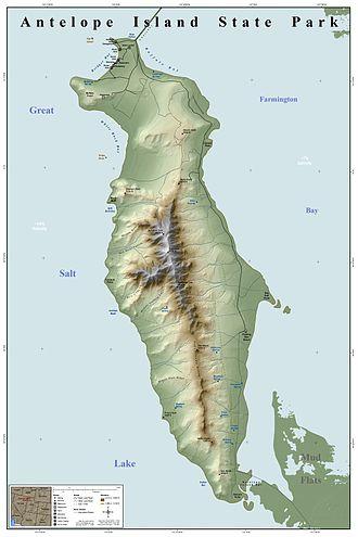 Antelope Island - Image: Antelope Island State Park Map