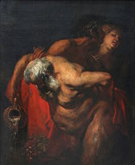 Drunken Silenus, supported by two bacchantes, 1617-1620