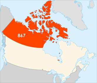 Area code 867 - Map of Canada with area code 867 in Orange/Red.