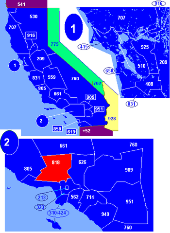Map of California area codes in blue (and border states) with 818 in red