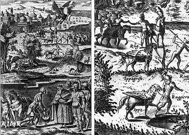 L'image représente de très nombreuses scènes avec une créature mi-cheval et mi-oiseau