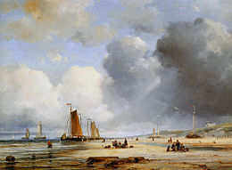 Ary Pleysier (1809-1879) - Beach View With Boats.jpg