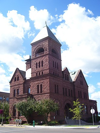 Ashland, Wisconsin - Ashland City Hall was built in the Romanesque Revival style in 1893, from locally quarried brownstone.