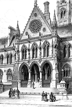 Manchester Assize Courts - Illustration of the Assize Courts from Charles Eastlake's History of the Gothic Revival.