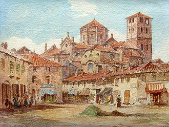 Asti - View of Asti and the Collegiata di San Secondo – Antonio Bignoli 1857.
