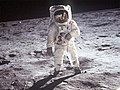 Astronaut Edwin E. Aldrin, Jr., lunar module pilot, walks on the surface of the Moon.jpg