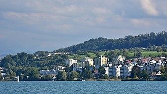 Au, Zurich - Au as seen from as seen from Zürichsee-Schifffahrtsgesellschaft (ZSG) ship MS Helvetia on Zürichsee