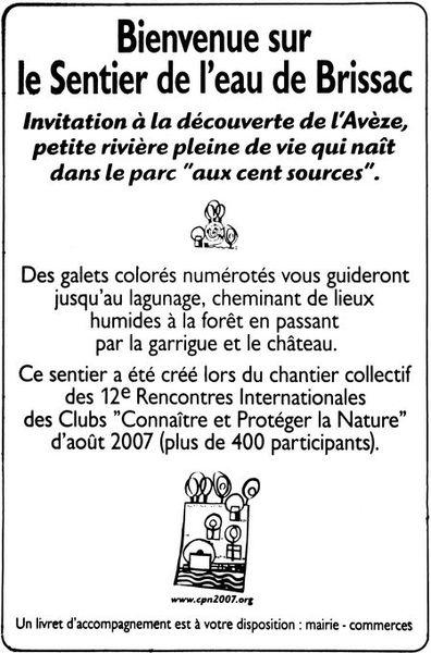 Brissac (France, 34) - Le Sentier de l'Eau Galet (étape) n°01: L'accueil au Panneau: dans la prairie en bas de l'école, tout près de la rivière