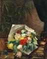 Augusta Dohlmann - Opstilling med farverige tulipaner på et bord.png