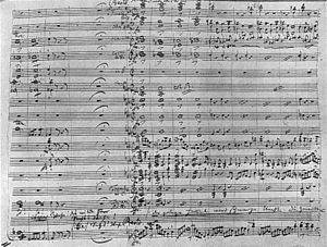 Orchestration - A hand-written musical score for Act 2 of the opera Der Freischütz by Carl Maria von Weber, written in the 1820s. The score contains all the parts for the singers and the accompaniment parts and melodies for the orchestra.
