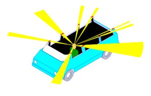 Vehicle blind spot - vertical A-pillar having small blind spots