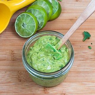 Avocado sauce Sauce prepared using avocado as a primary ingredient