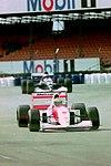 Ayrton Senna - Mclaren MP4-8 and JJ Lehto - Sauber C12 during practice for the 1993 British Grand Prix (33686760695).jpg
