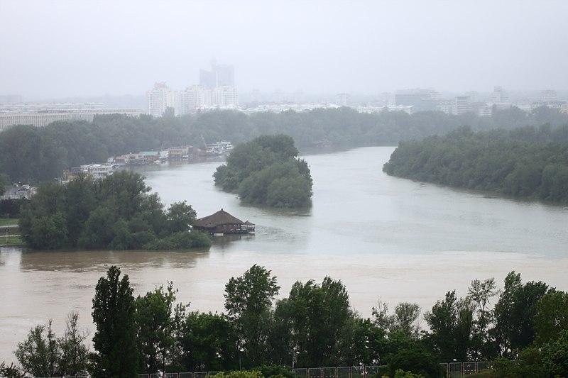 File:Bělehrad, Kalemegdan, Rozvodněná Sáva se vlévá do Dunaje.jpg