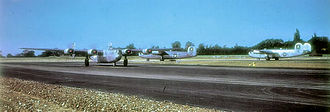 493d Bombardment Group - B-24s of the 862d Bomb Squadron getting ready for takeoff at Debach.