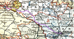 Berlin–Hamburg Railway - Course of the railway through the old German states