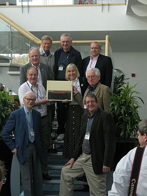 BBC Micro - Clockwise from top left: Hermann Hauser, Andy Hopper, Christopher Curry, Sophie Wilson, David Allen, Chris Serle, David Kitson, Chris Turner, and Steve Furber at the BBC Micro 30th anniversary in 2012