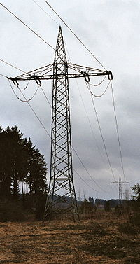 Tension tower with phase transposition of a powerline for single phase AC traction current (110 kV, 16.67 Hertz) near Bartholomä in Germany