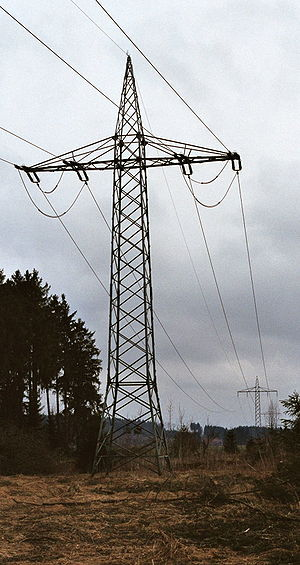 Traction power network - Transposition pylon of power line for single-phase AC traction current (110 kV, 16.7 Hz) near Bartholomä in Germany.