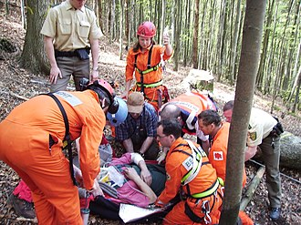 Mountain rescue - Mountain rescue team members and other services attend to a casualty in Freiburg Germany.