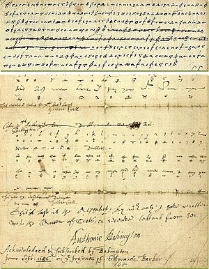 Thomas Phelippes - The original ciphertext sent by Anthony Babighton to Mary, Queen of Scots, with the Phelippes's postscript addition.