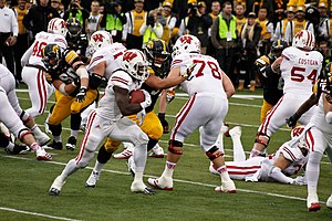 2014 Wisconsin Badgers football team - Melvin Gordon running against the Iowa Hawkeyes defense in 2014 at Kinnick Stadium