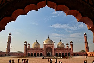 History of Punjab - Badshahi Mosque at Lahore built during the reign of Aurangzeb.