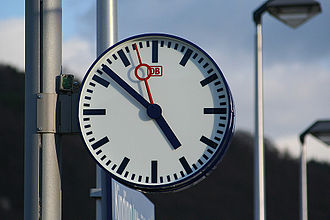 DCF77 - The DCF77 time signal is used by organizations like the Deutsche Bahn railway company to synchronize their station clocks