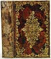 Band van blank perkament, beschilderd in een bruinzwart, rood, beige en siena marmerpatroon-KONB12-1754E114.jpeg