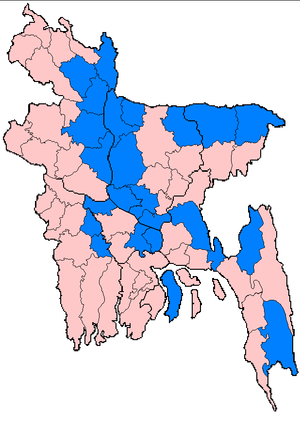 2007 South Asian floods - Districts of Bangladesh affected by flooding between 3 July and 15 August 2007 (marked in blue).