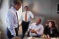 Barack Obama talks with Dan Restrepo, Ron Kirk and Hilda L. Solis, 2012.jpg