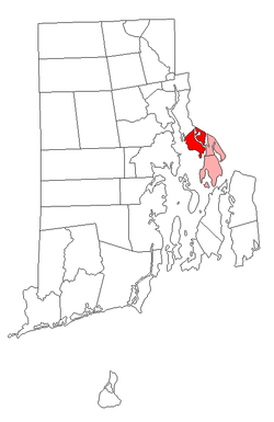 Location of Barrington in Bristol County, Rhode Island