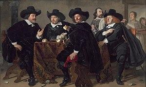 Gerrit Reynst - Reynst (far right), with (from left) his fellow aldermen and contemporaries Cornelis Jan Witsen, Roelof Bicker, and Simon van Hoorn.