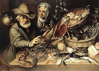 Gemälde von Meeresfrüchten, darunter Schildkröten, in einem Fischladen aus dem 16.Jahrhundert