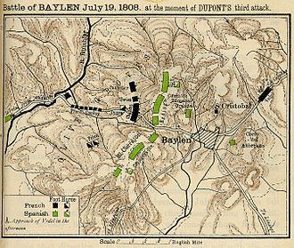 Battle of Bailén - Reding (green) blocks Dupont's (black) retreat.