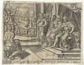 Batseba dient het verzoek van Adonia in bij Salomo Geschiedenis van Salomo (serietitel) Theatrum biblicum (..) (serietitel), RP-P-OB-103.310.jpg