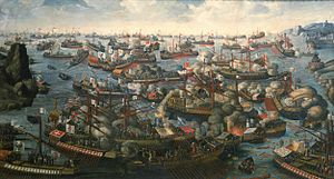 Naval boarding - The Battle of Lepanto in 1571, naval engagement between allied Christian forces and the Ottoman Turks.