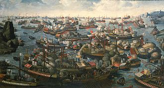 Ottoman–Habsburg wars - The naval battle of Lepanto (1571) in an anonymous painting of the late 16th century (National Maritime Museum)