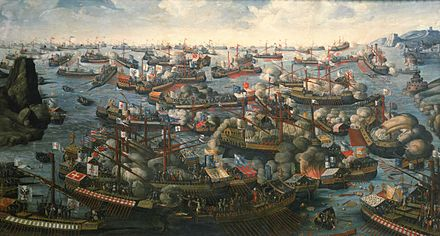 The Battle of Lepanto, 1571, ended in victory for the European Holy League against the Ottoman Turks. Battle of Lepanto 1571.jpg