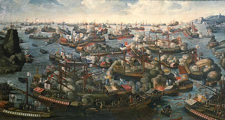 The Battle of Lepanto (1571) marked the end of Ottoman naval supremacy in the Mediterranean Sea. Battle of Lepanto 1571.jpg