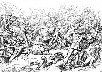 Peloponnesian War - Battle of Potidaea (432 BC): Athenians against Corinthians. Scene of Socrates saving Alcibiades. 18th century engraving.